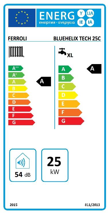 Caldera a gas de condensación Ferroli BLUEHELIX TECH 25 C + cronotermostato Wifi + Kit salida gases estándar_product